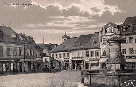 Brunnen am Marktplatz von Böhmisch Leipa (1928) (c) J. Kratochvil